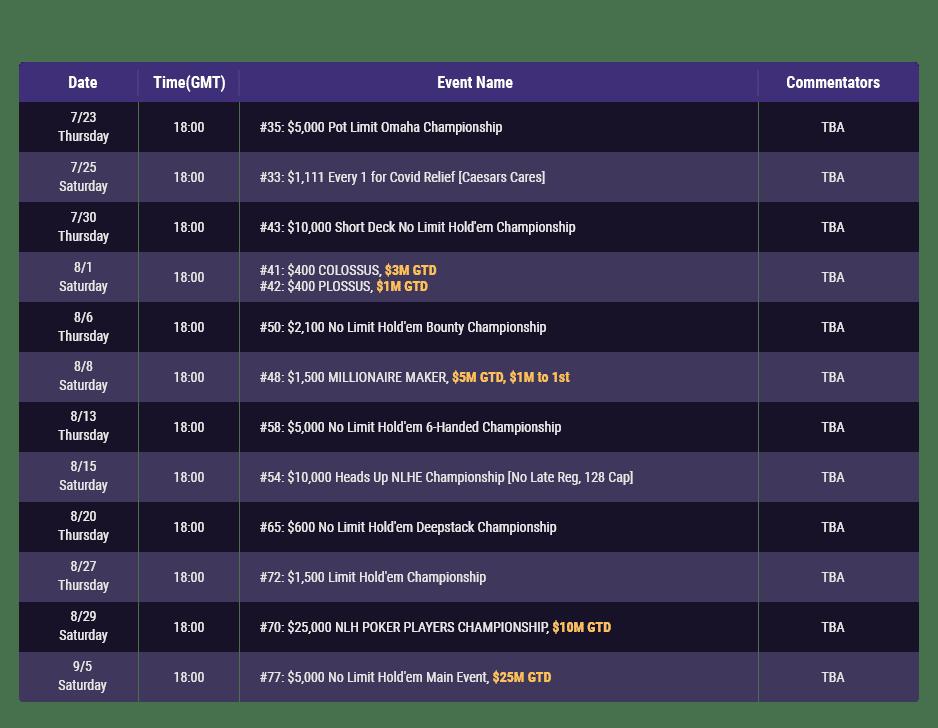 WSOP Online media schedule