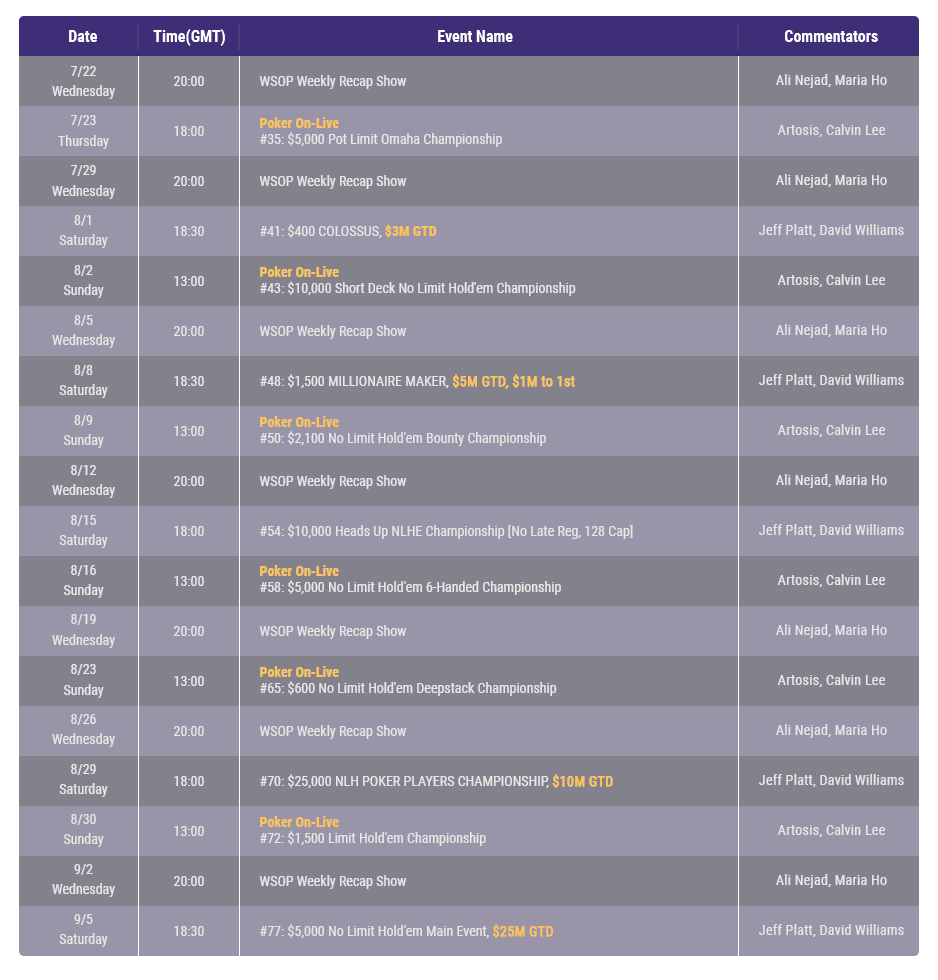 WSOP media schedule image