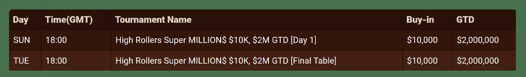 Super MILLION$ schedule