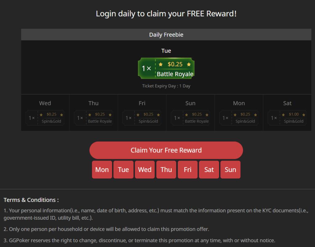 Daily Freebie online poker promotion screenshot banner